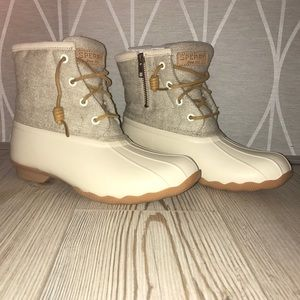 Sperry Saltwater Emboss Wool Rain Boot Off White